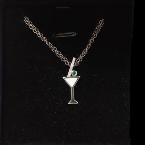 Martini 10kt Pendant & Chain/Diamonds And Emerald